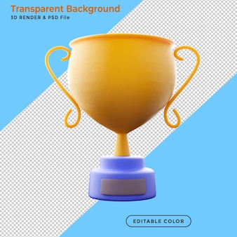 Trophy and achievement concept of successful 3d rendering clipping path