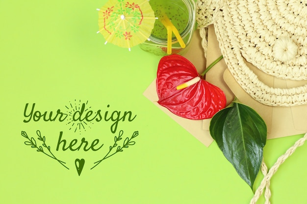 Tropical banner with straw bag on green background