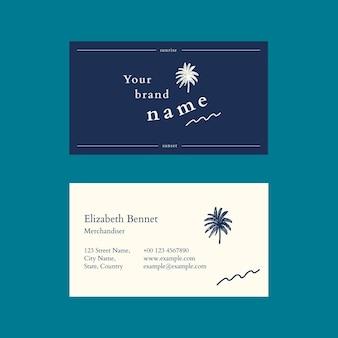 Modello di biglietto da visita tropicale psd in tonalità blu