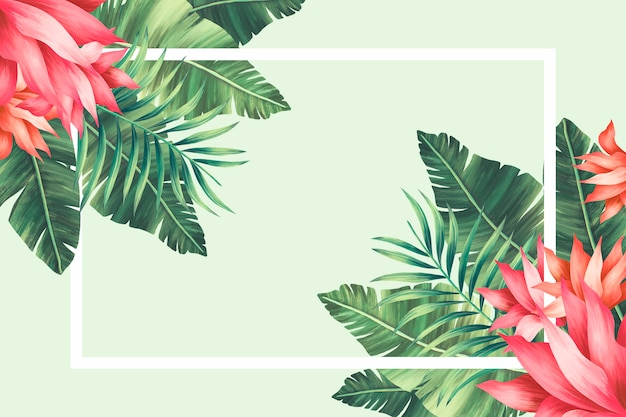 Tropical floral border with hand painted leaves and flowers
