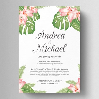 Tropical floral wedding invite