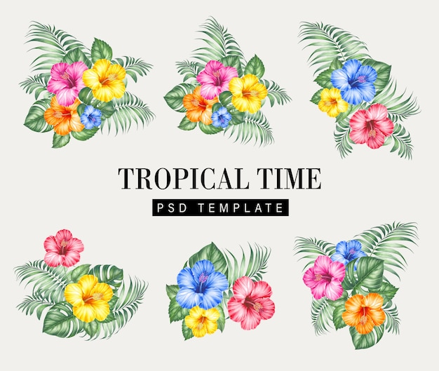 Tropical flowers on botanical card