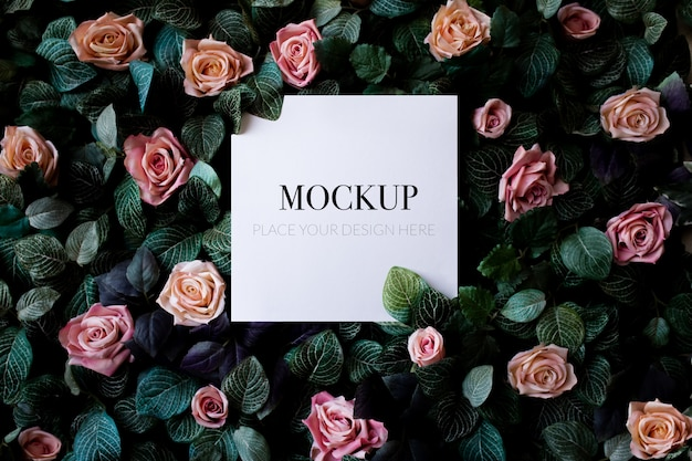 Tropical foliage background with roses mockup