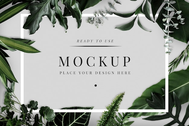 Tropical foliage design frame mockup