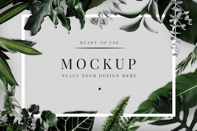 Tropical foliage design frame mockup
