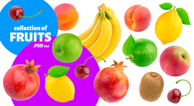 Tropical fruits collection, fresh food banner