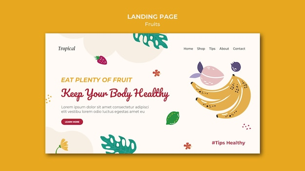 Tropical fruits landing page