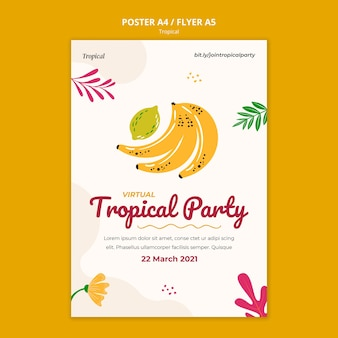 Tropical fruits poster template