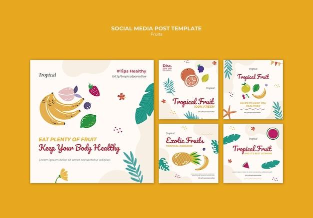 Сообщение в социальных сетях о тропических фруктах