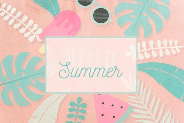 Tropical hello summer card mockup