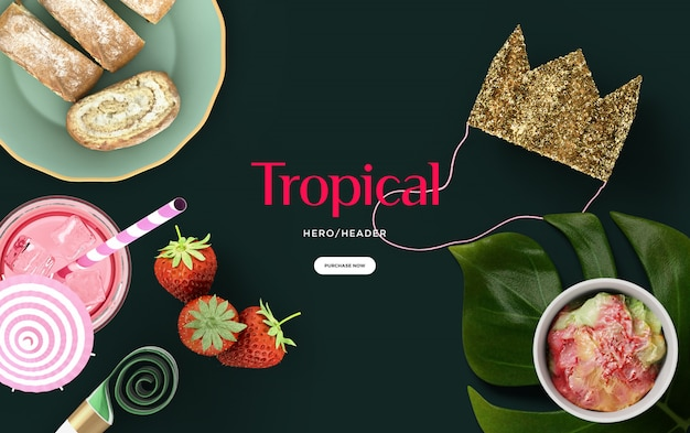 Tropical hero header scene