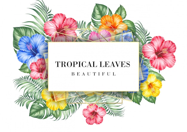 Tropical invitation card with hibiscus flowers