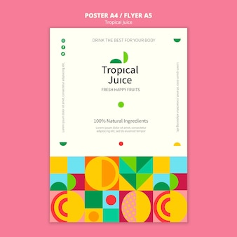 Tropical juice poster template