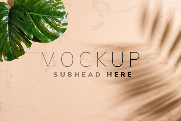 Tropical leaves and shadows mockup on paper
