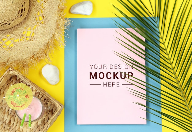 Tropical mockup with palm leaves and straw hat