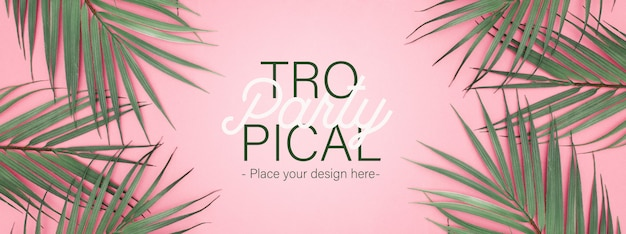 Tropical party banner with realistic pal leaves
