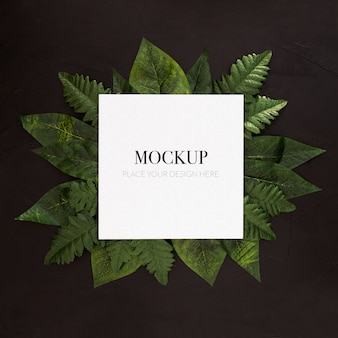 Tropical plants with frame mockup on black background