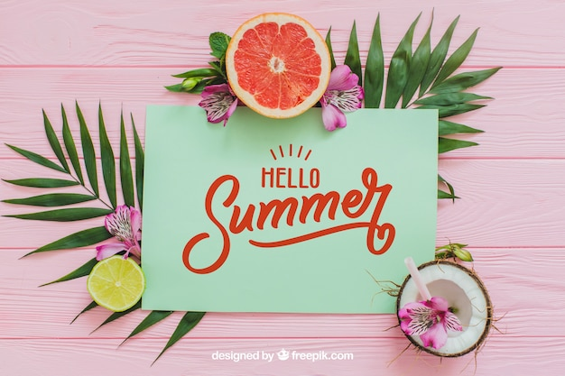 Tropical summer composition with paper