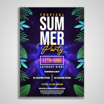 Tropical summer party flyer design template