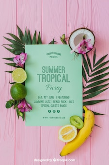 Tropical summer party invitation concept