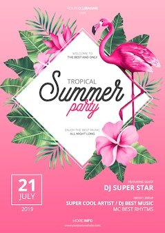 Tropical summer party poster template with pink flamingo