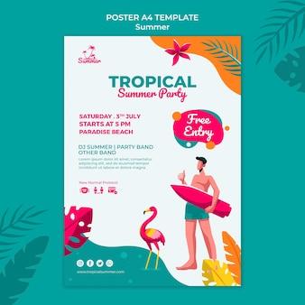Шаблон печати тропической летней вечеринки