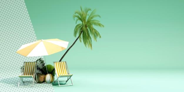Тропические деревья с зонтиком в 3d-рендеринге