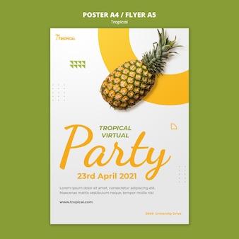 Шаблон плаката для вечеринки с тропическими вибрациями