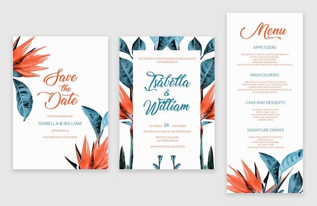 Шаблон набора тропических свадебных приглашений
