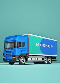 Truck box mockup design in 3d rendering