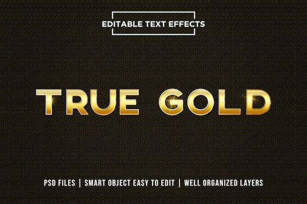 Текстовый эффект true gold