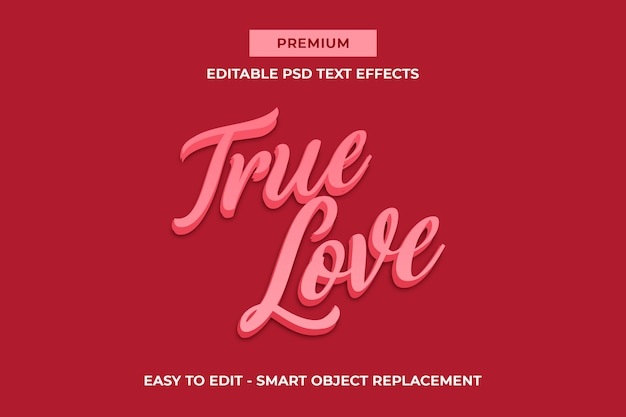 True love - pinky valentines 3d text effect