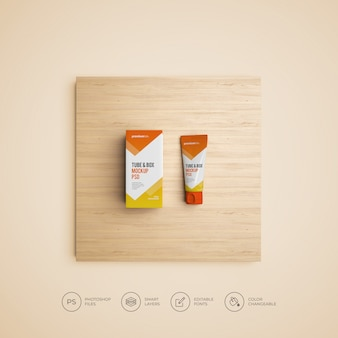 Tube and box mockup psd