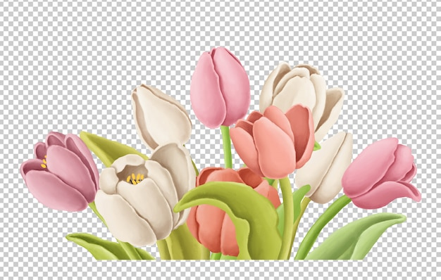 チューリップ花束手描きイラスト