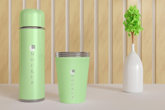 Tumbler and drink cup mockup with plant vase