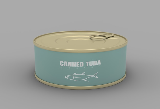 Tuna can 3d render mockup