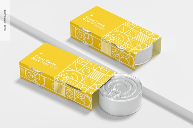 Tuna cans box mockup