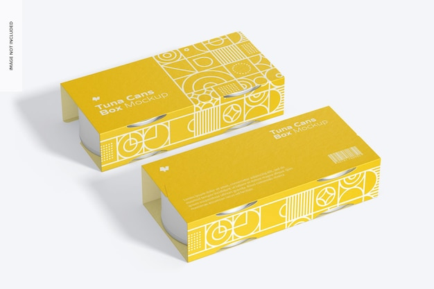 Tuna cans boxes mockup