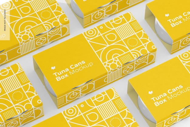 Tuna cans boxes set mockup