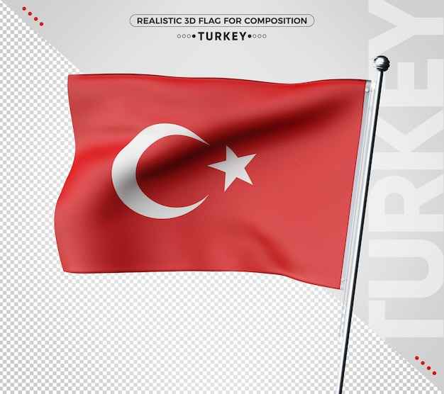 Turkey 3d flag rendering isolated