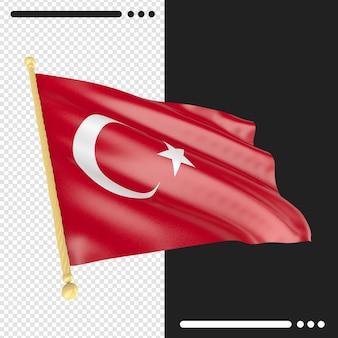 Turkey flag rendering isolated