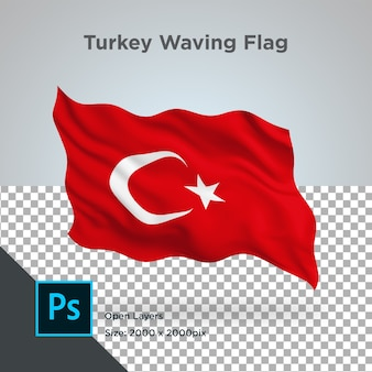 Turkey flag wave design transparent