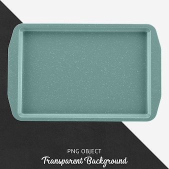 Turquoise rectangle oven tray on transparent