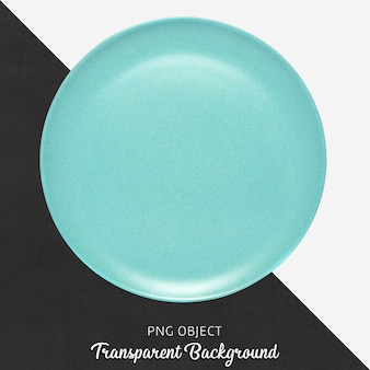 Turquoise round ceramic plate on transparent background