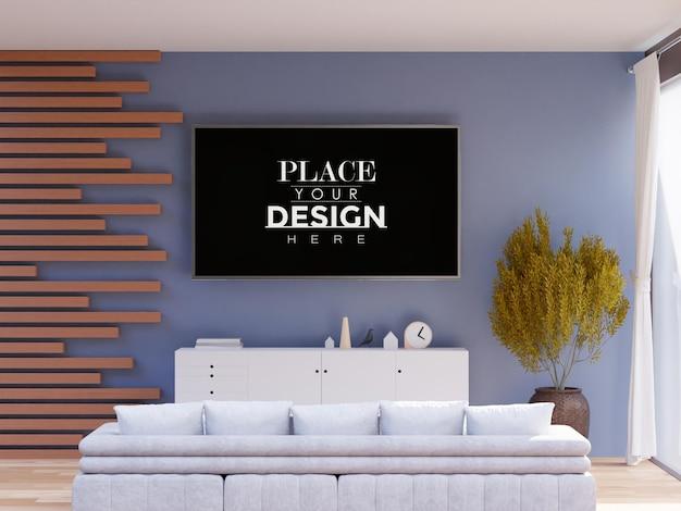 Интерьер макета рамки телевизора в гостиной