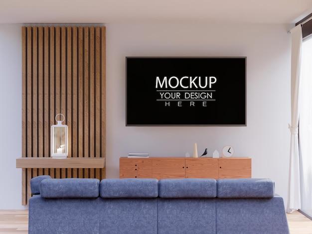 Tv frame mockup interior in living room