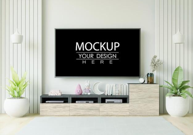 Макет телевизора в гостиной