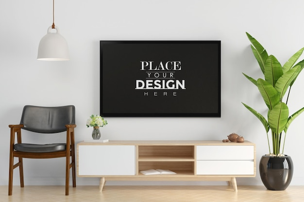 Tv in soggiorno mock up