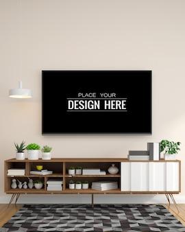 Tv in living room mockup