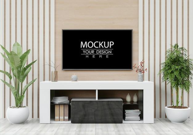 Tv nel mockup del soggiorno